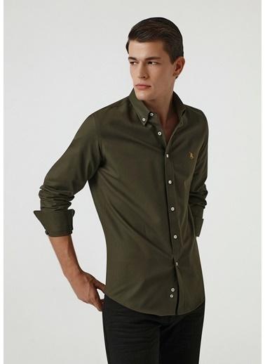 D'S Damat Slim Fit Oxford Gömlek Haki